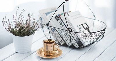本と花とコーヒー