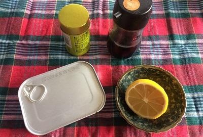 「オイルサーディンの缶ごと焼き」材料