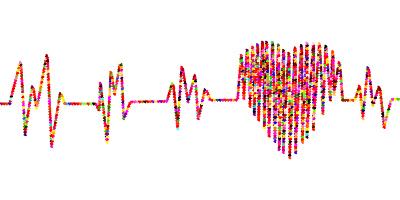 カラフルなハートの心電図